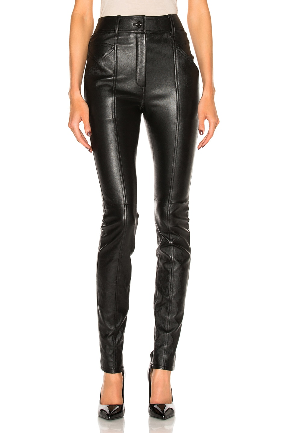 Image 1 of Saint Laurent Stretch Leather Leggings in Black