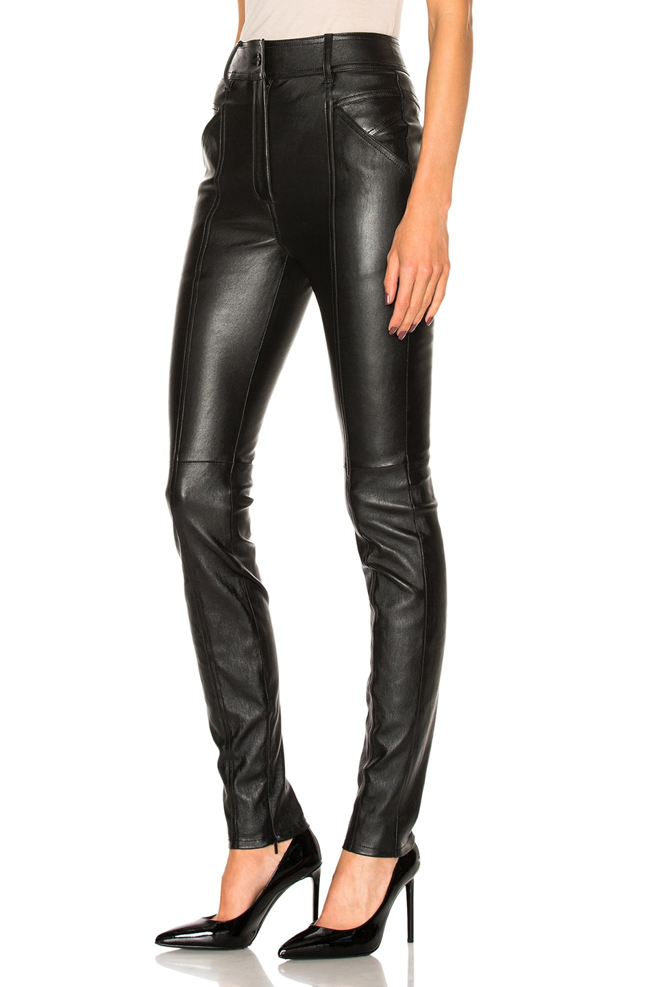 Image 2 of Saint Laurent Stretch Leather Leggings in Black