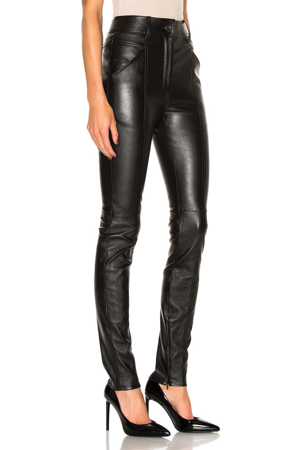 Image 3 of Saint Laurent Stretch Leather Leggings in Black
