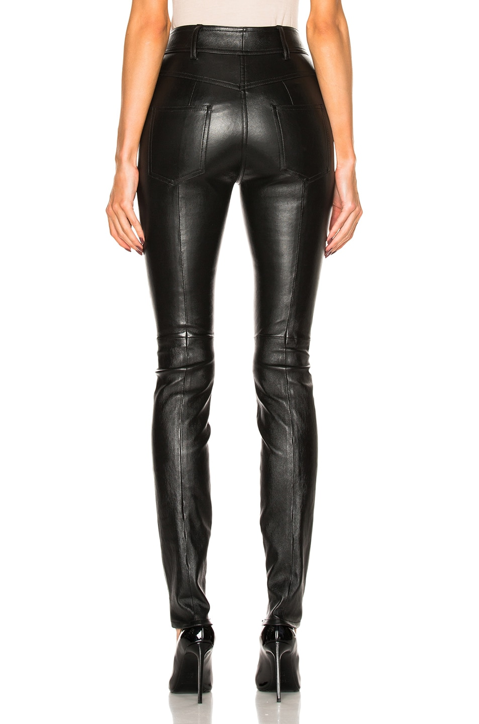 Image 4 of Saint Laurent Stretch Leather Leggings in Black