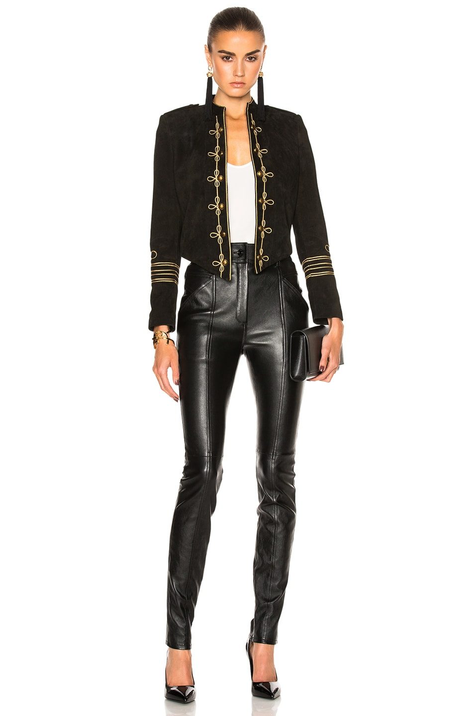 Image 5 of Saint Laurent Stretch Leather Leggings in Black
