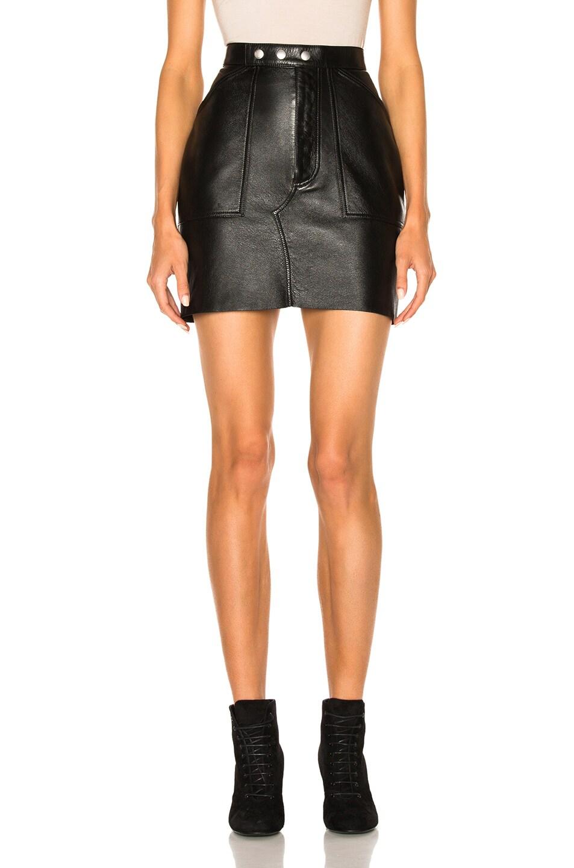 Image 1 of Saint Laurent Leather Mini Skirt in Black
