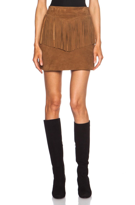 Image 1 of Saint Laurent A-Line Suede Fringe Skirt in Whisky