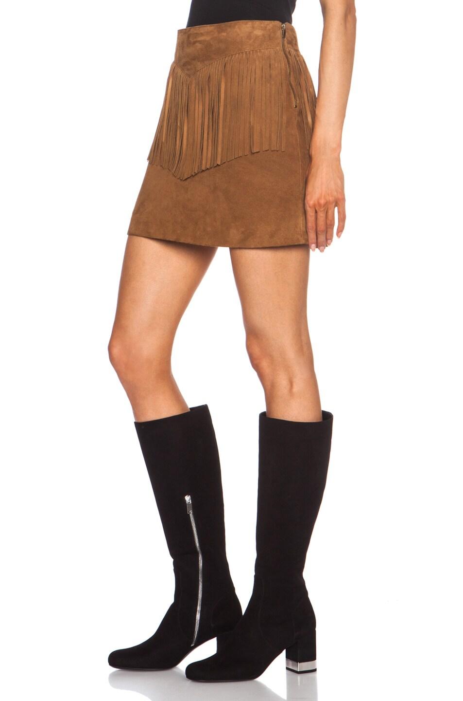 Image 2 of Saint Laurent A-Line Suede Fringe Skirt in Whisky
