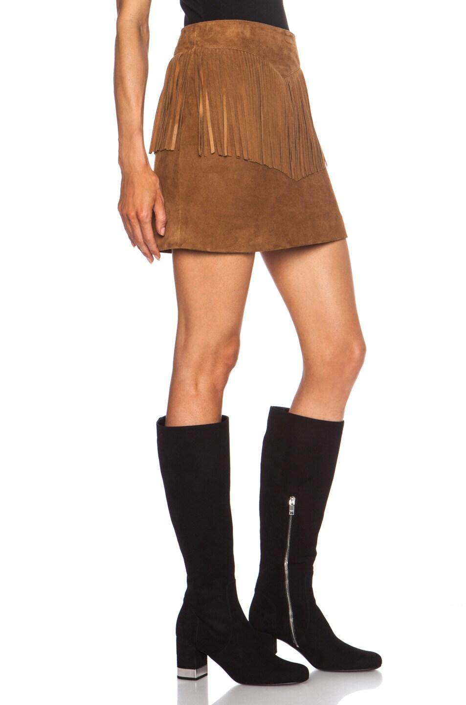 Image 3 of Saint Laurent A-Line Suede Fringe Skirt in Whisky