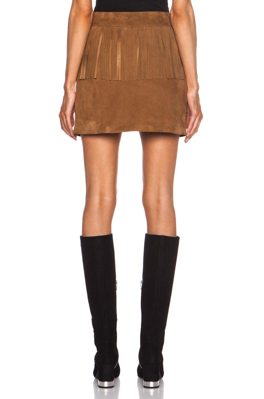 Image 4 of Saint Laurent A-Line Suede Fringe Skirt in Whisky