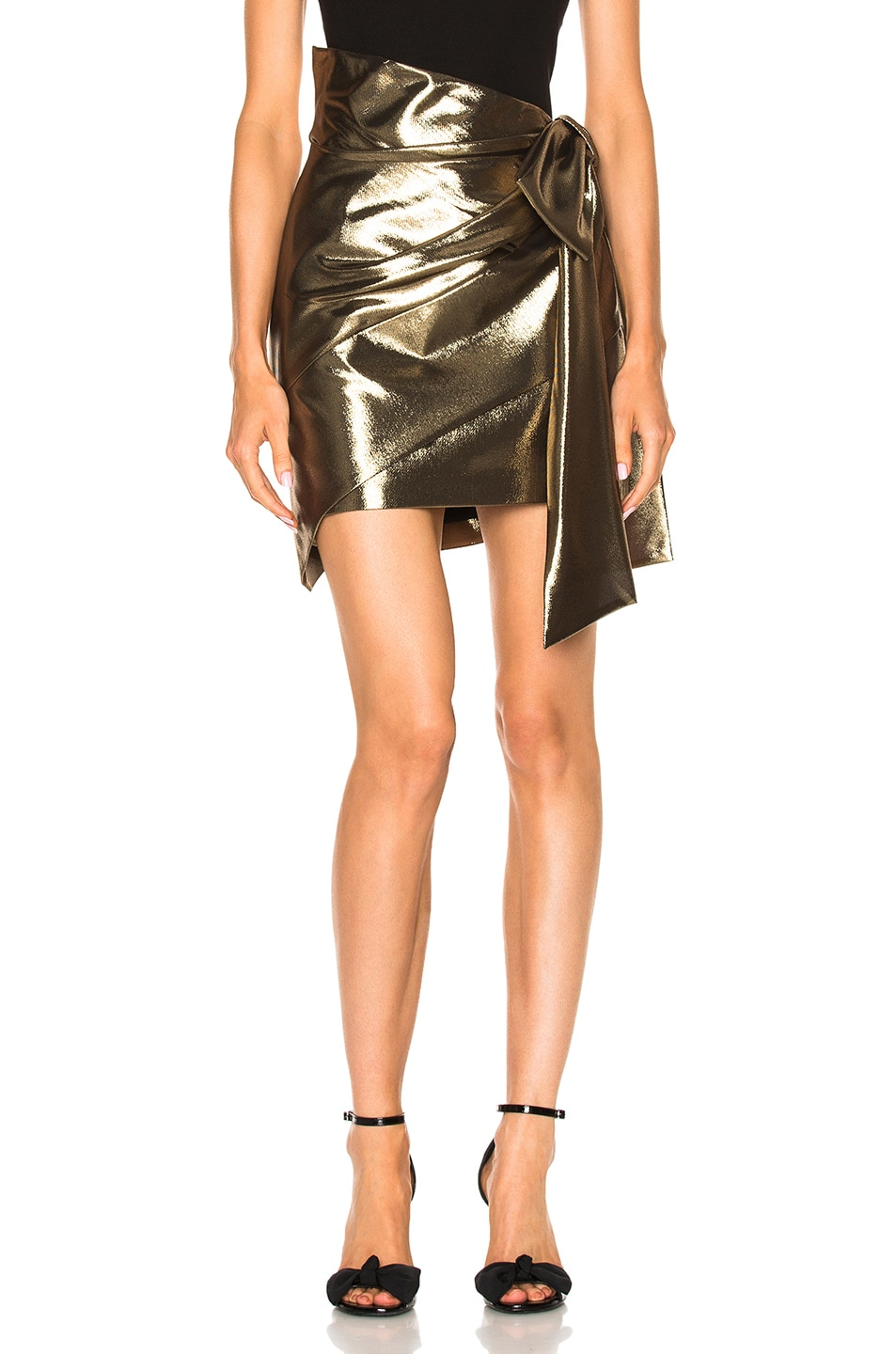 Image 1 of Saint Laurent Asymmetrical Wrap Skirt in Gold