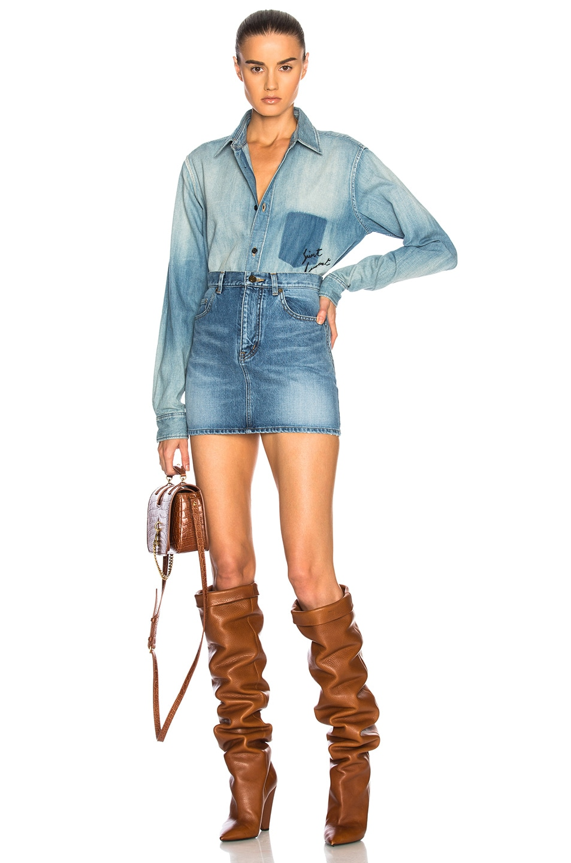 Image 5 of Saint Laurent Classic Loulou Denim Mini Skirt in Vintage Blue
