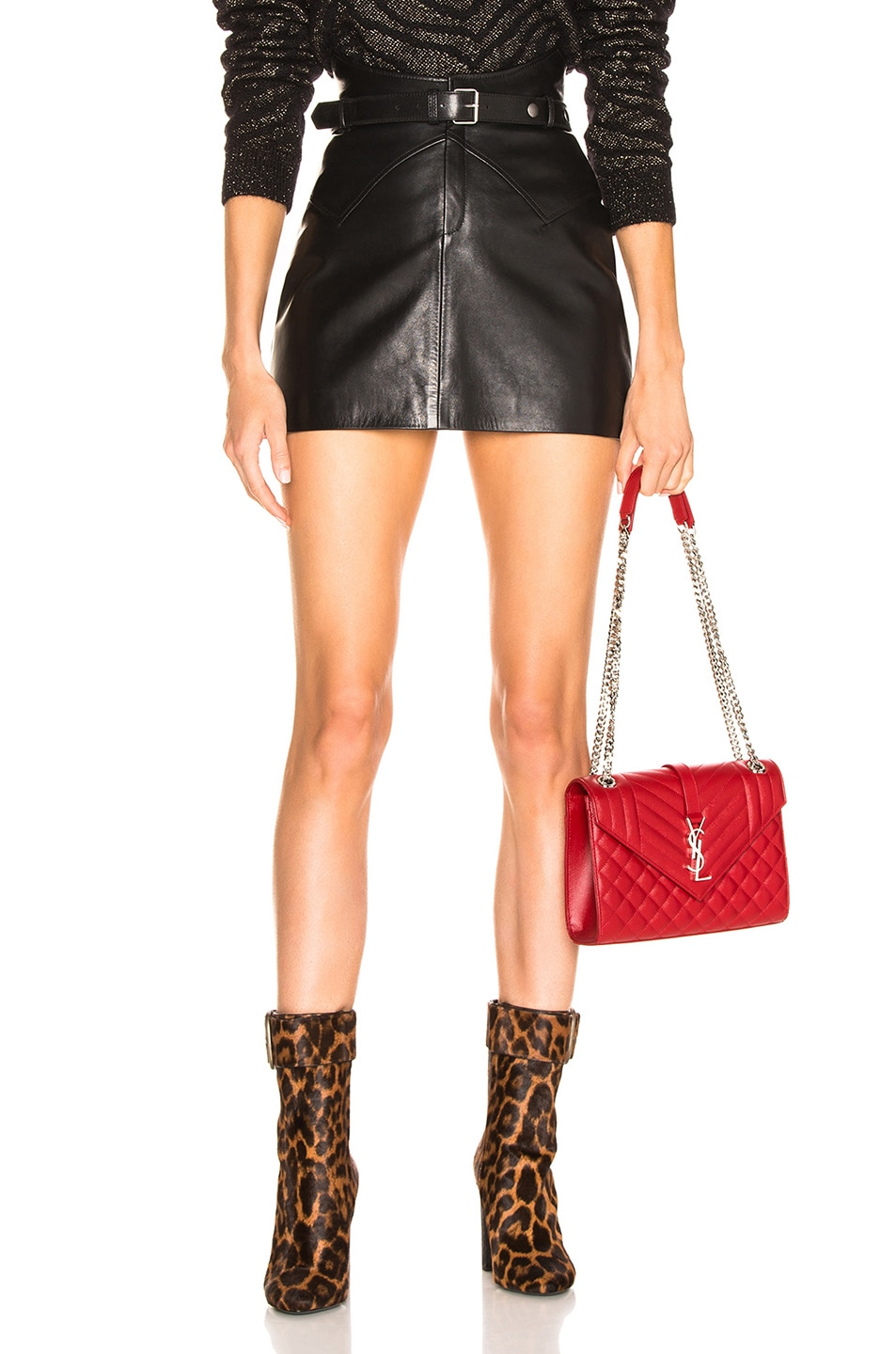 Image 1 of Saint Laurent Belted Western Mini Skirt in Black