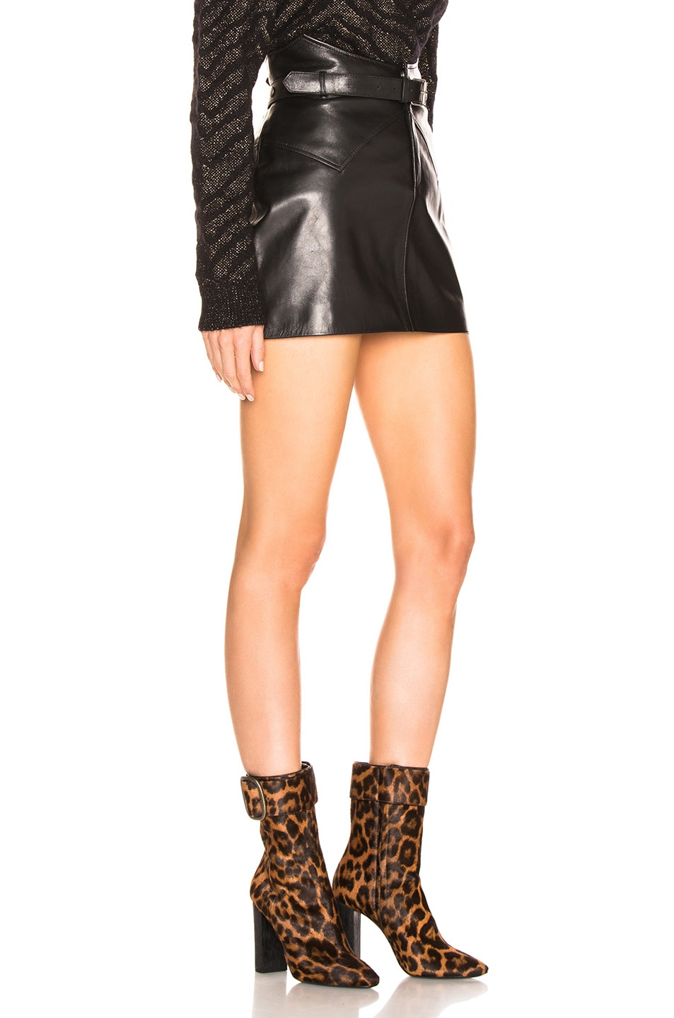 Image 2 of Saint Laurent Belted Western Mini Skirt in Black
