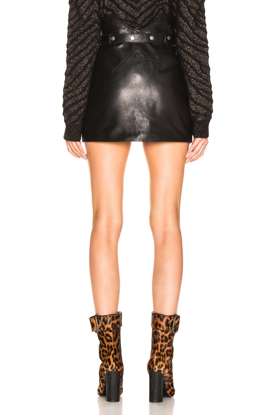 Image 4 of Saint Laurent Belted Western Mini Skirt in Black