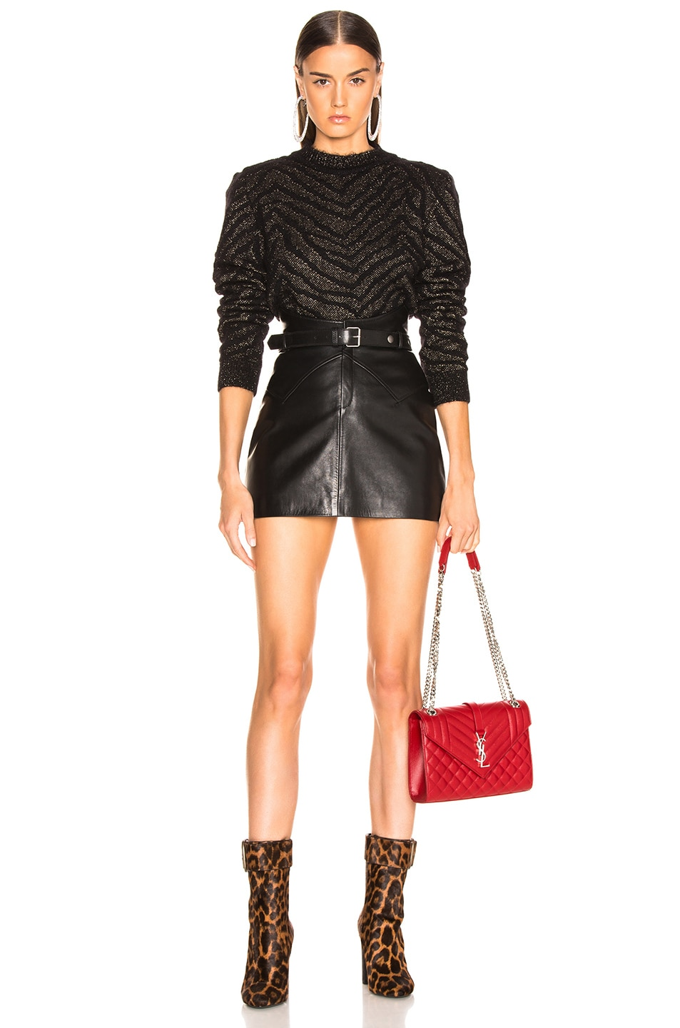 Image 5 of Saint Laurent Belted Western Mini Skirt in Black