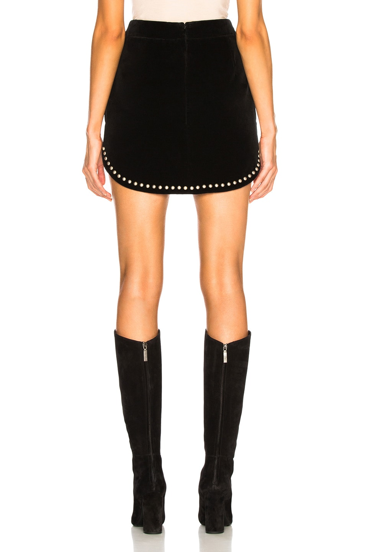 Image 3 of Saint Laurent Studded Velvet Mini Skirt in Black