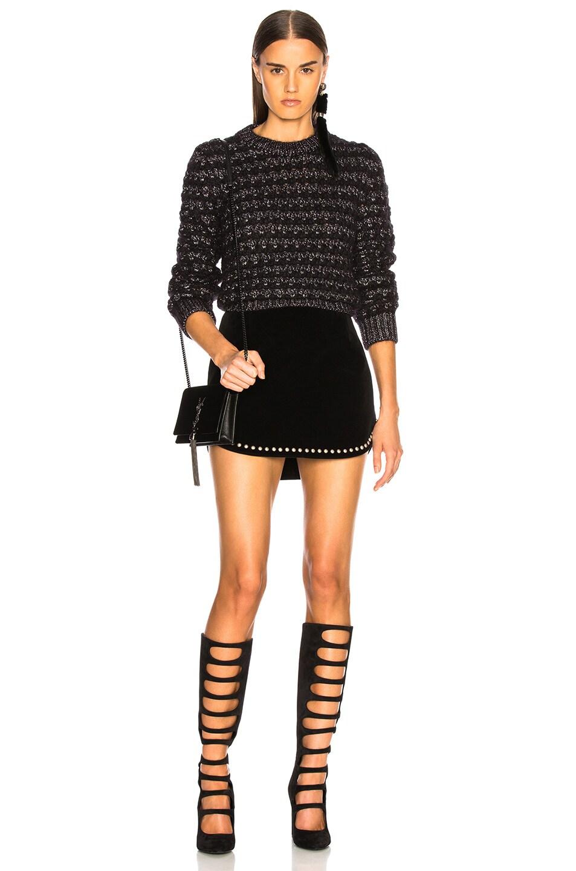 Image 4 of Saint Laurent Studded Velvet Mini Skirt in Black