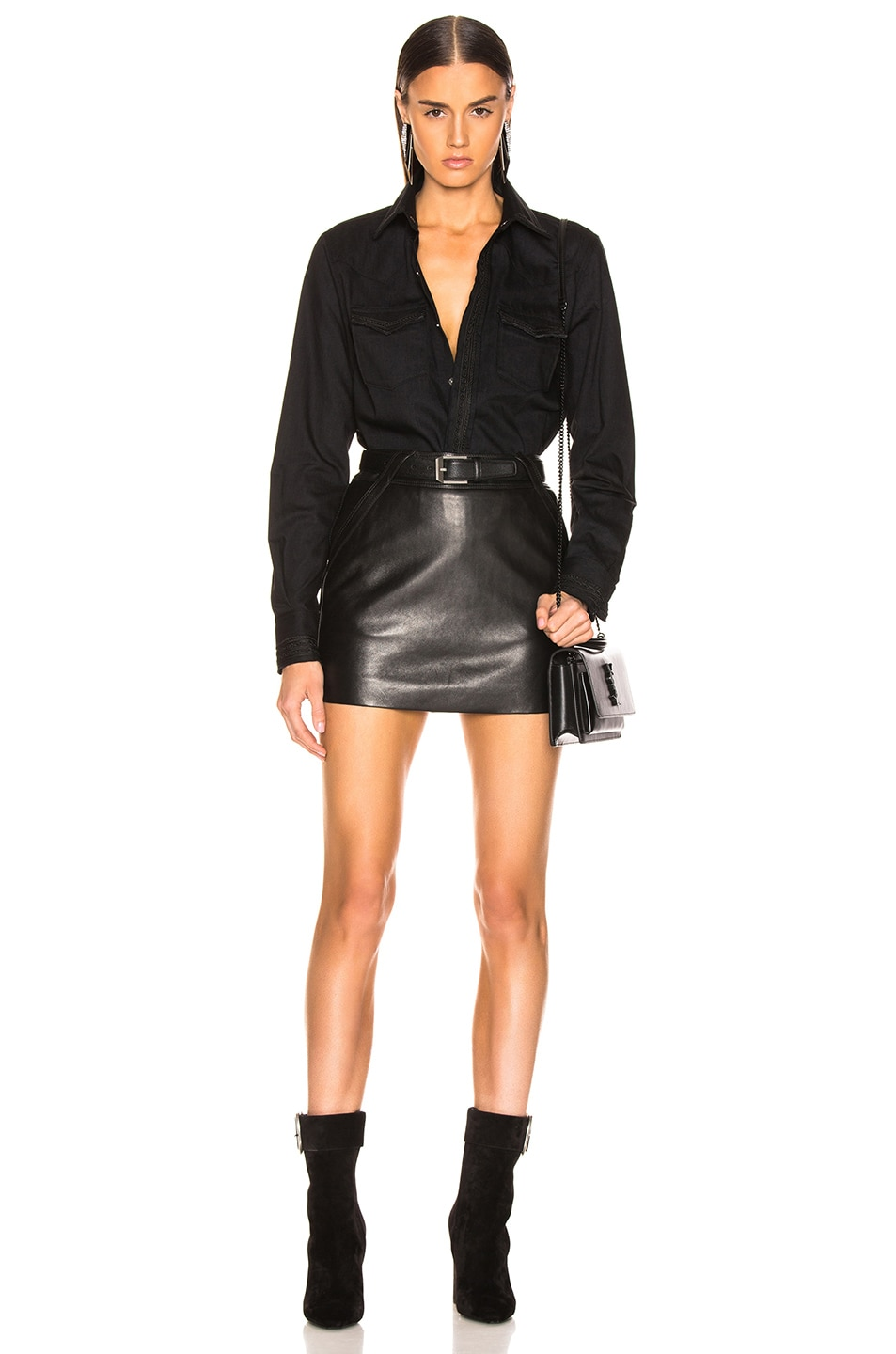 Image 4 of Saint Laurent Mini Skirt in Black