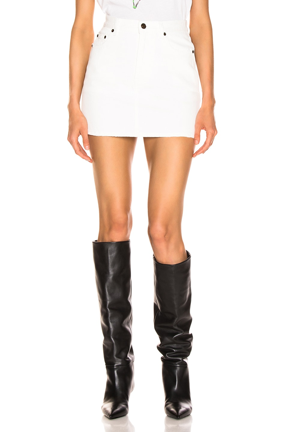 Image 1 of Saint Laurent Classic Skirt in White Stonewash