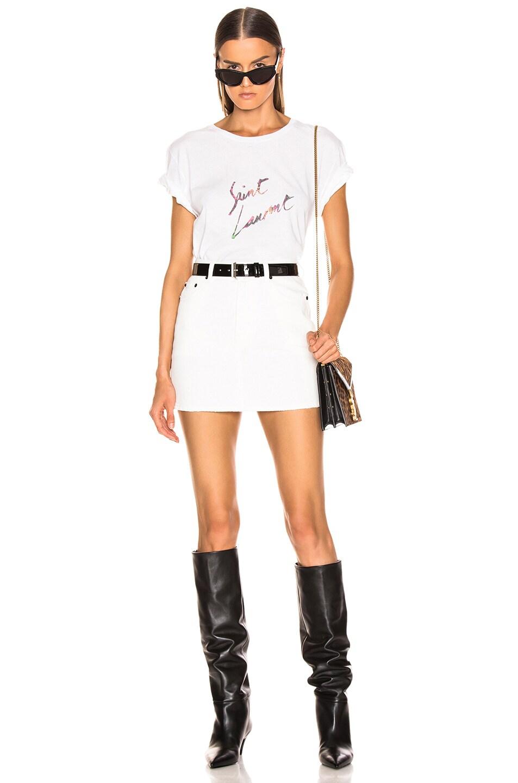 Image 4 of Saint Laurent Classic Skirt in White Stonewash