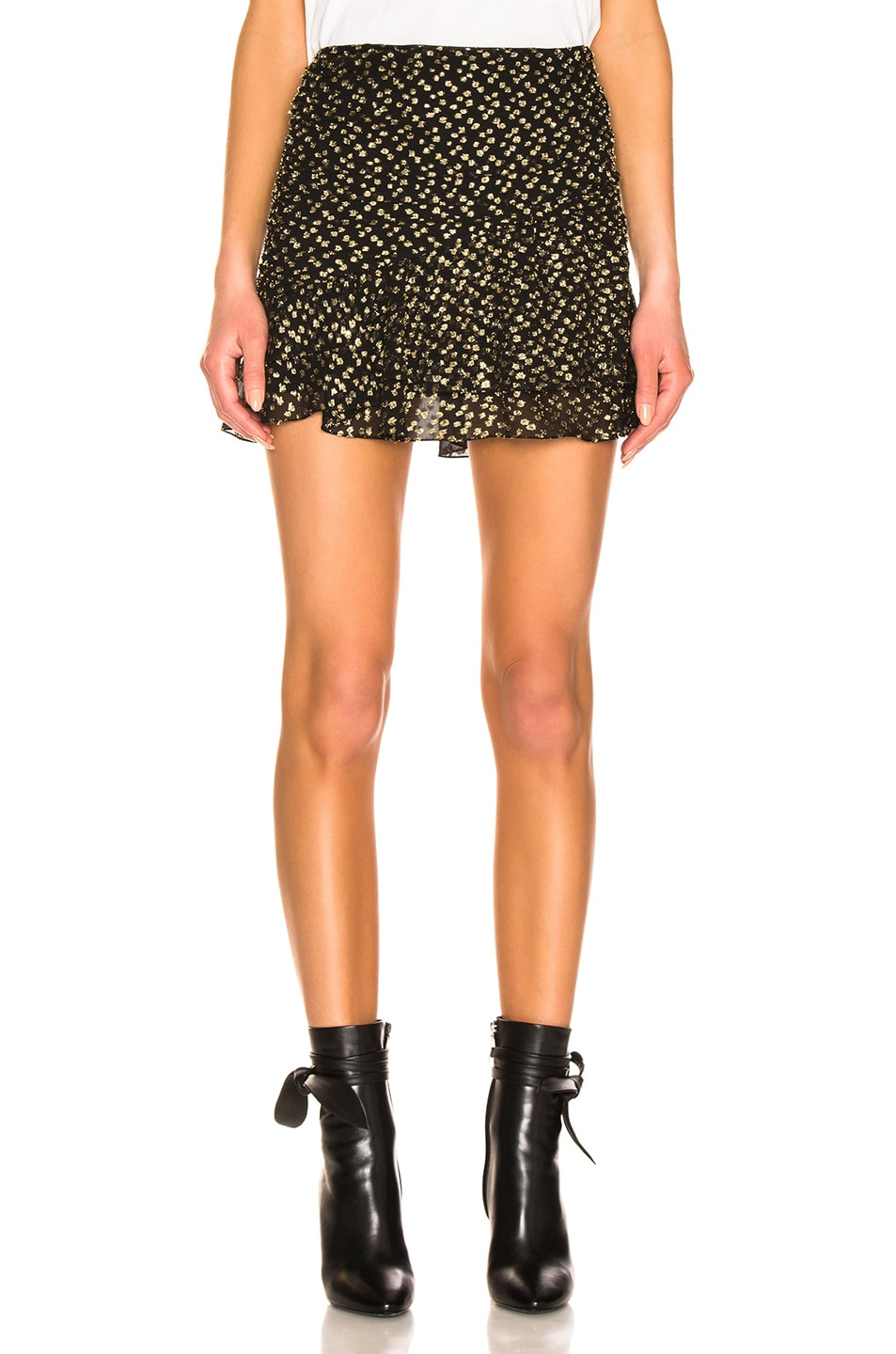 Image 1 of Saint Laurent Mini Ruffle Skirt in Black