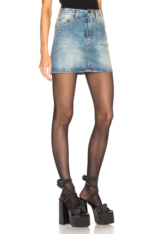 Image 2 of Saint Laurent Embossed Star Classic Skirt in Dirty Sunrise Blue