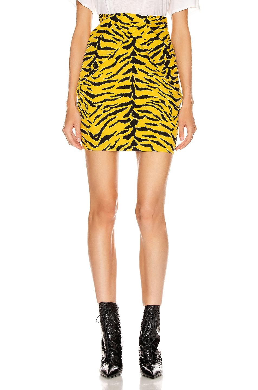 Image 1 of Saint Laurent Zebra Mini Skirt in Yellow & Black