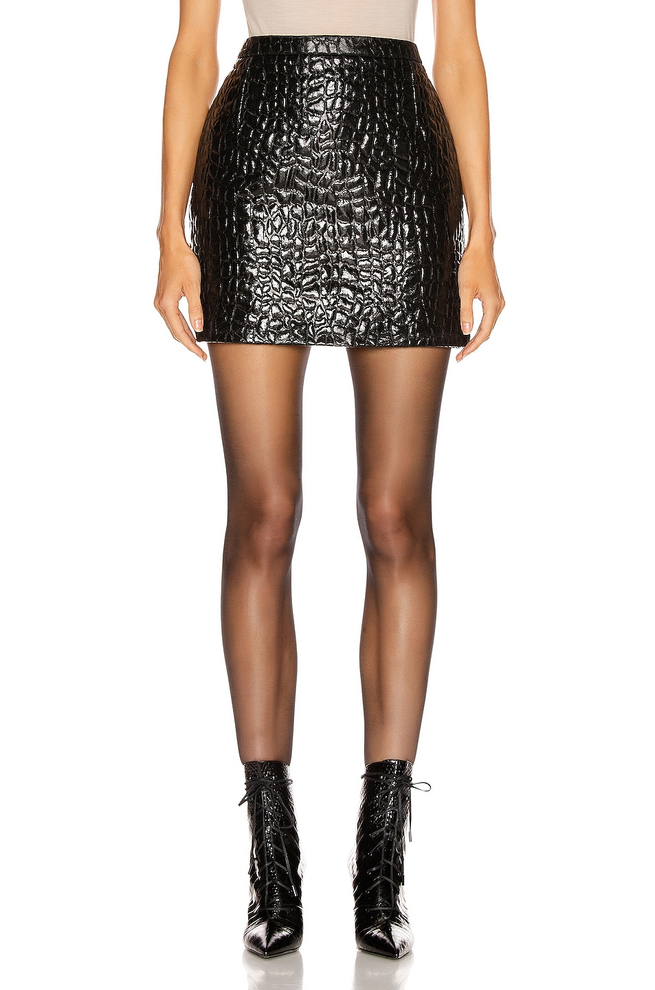 Image 1 of Saint Laurent Croc Mini Skirt in Black