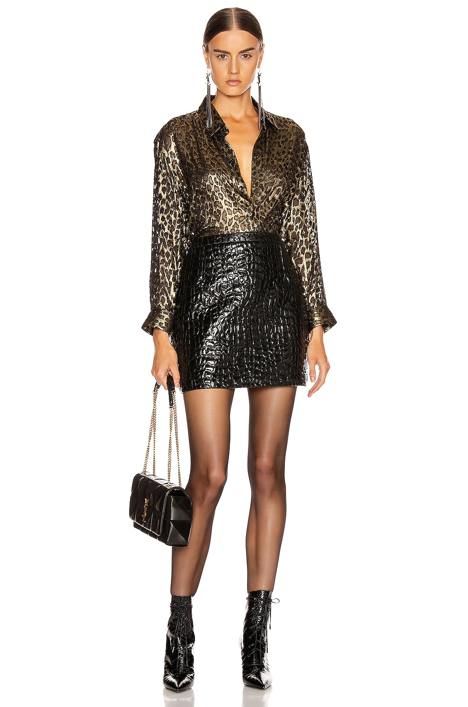 Image 4 of Saint Laurent Croc Mini Skirt in Black