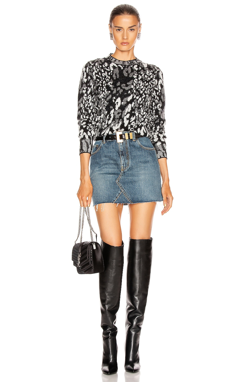 Image 4 of Saint Laurent Classic Triangle Denim Mini Skirt in Dusk Blue