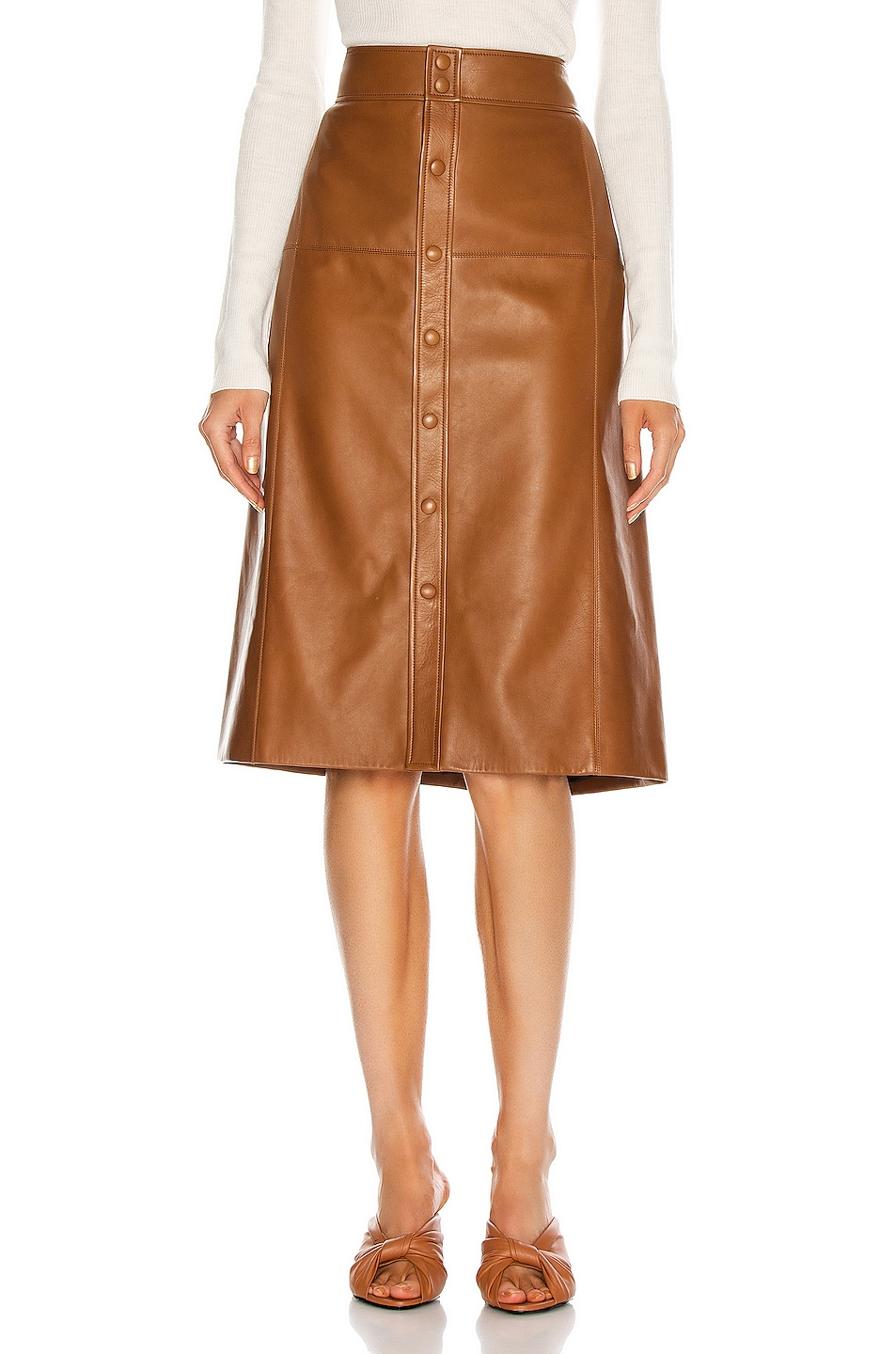 Image 1 of Saint Laurent High Waisted Skirt in Marron Glace