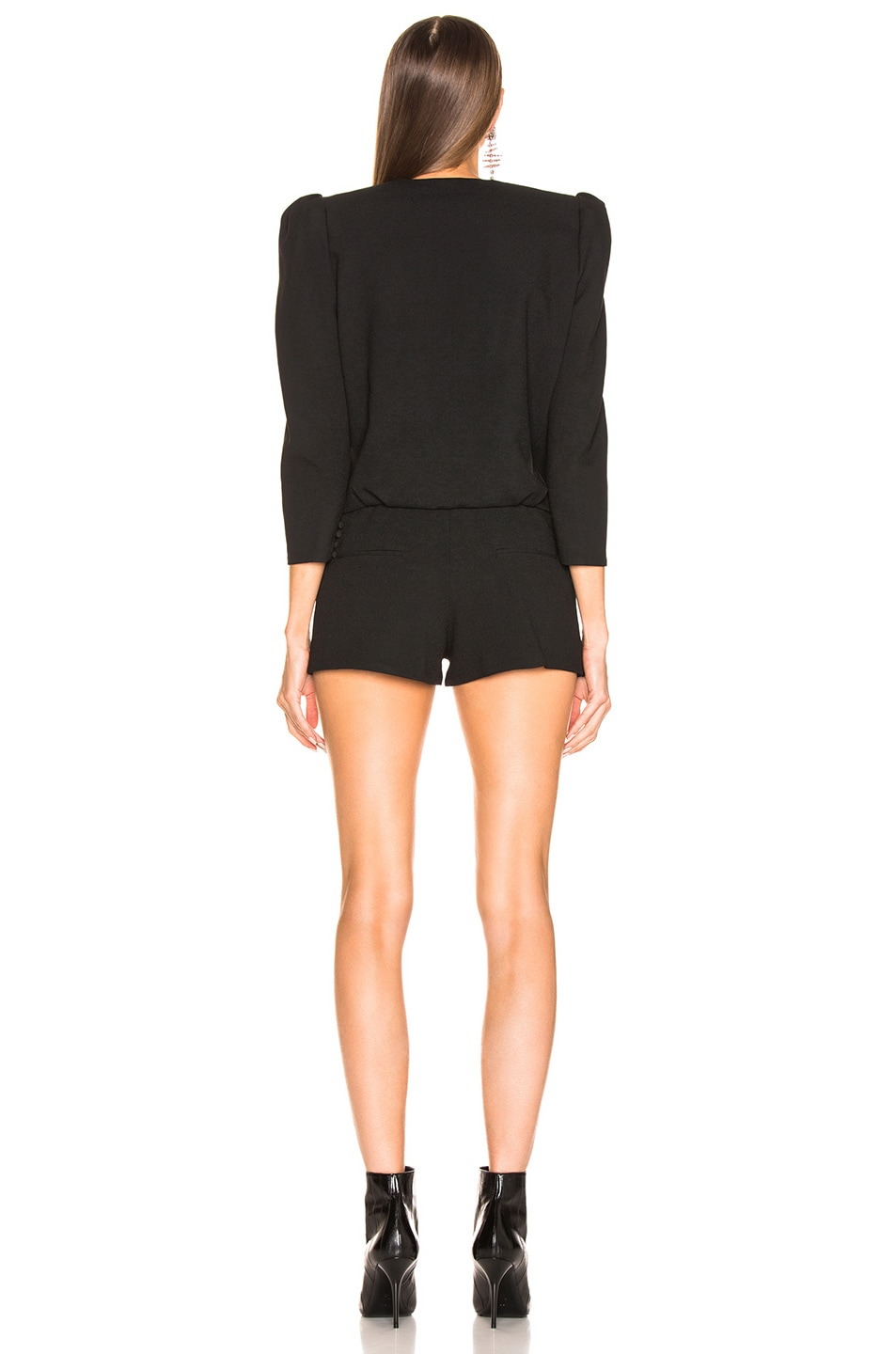 Image 4 of Saint Laurent Draped Front Romper in Black