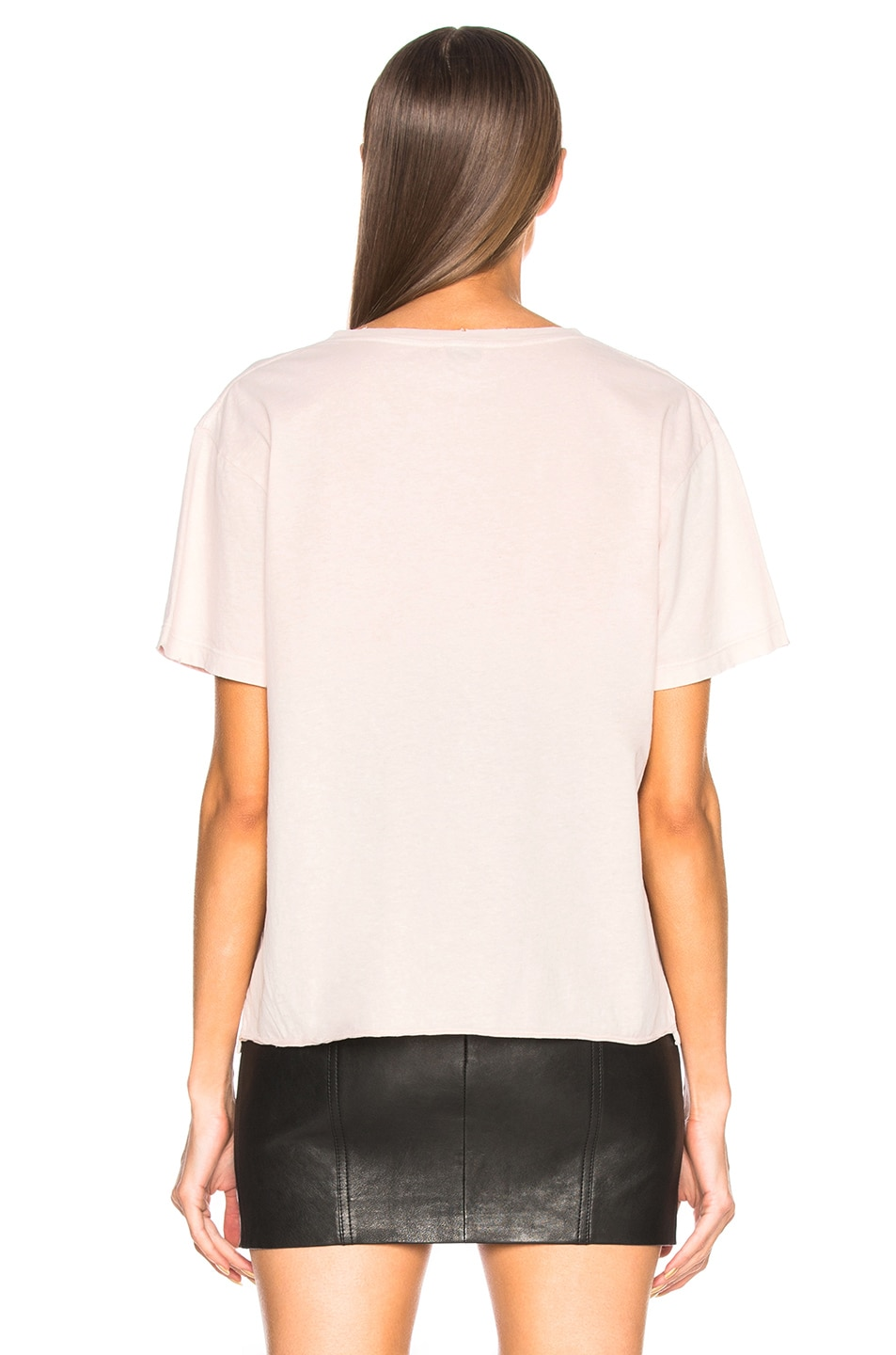Image 3 of Saint Laurent Small Logo Tee in Light Pink
