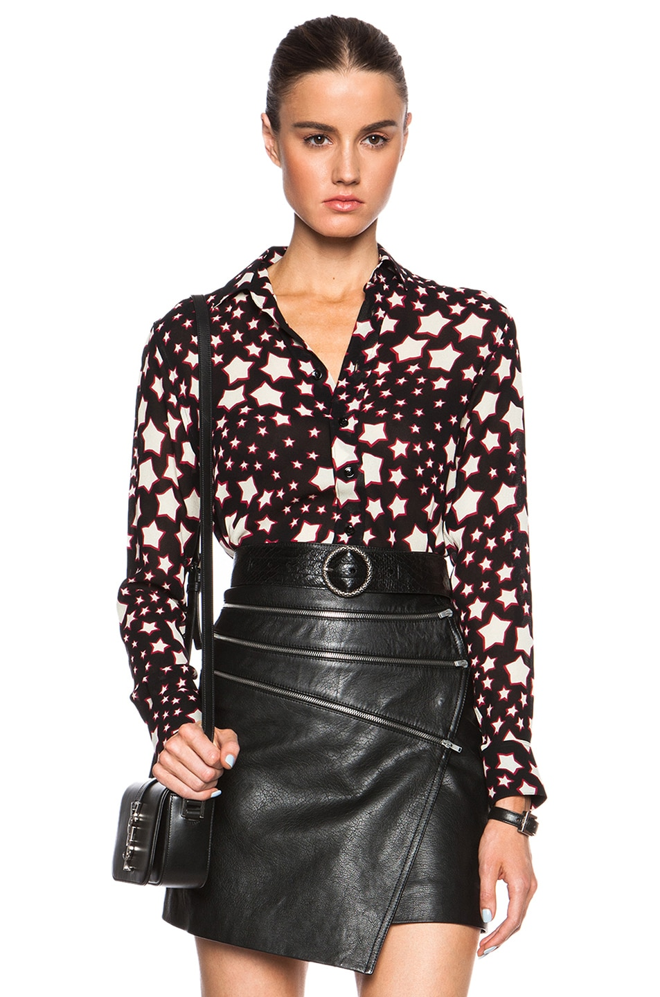 Image 1 of Saint Laurent Star Print Oversize Shirt in Black & Red
