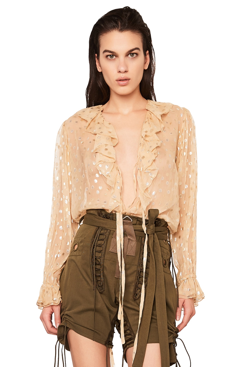 Image 1 of Saint Laurent Polka Dot Georgette Ruffle Front Blouse in Beige & Gold