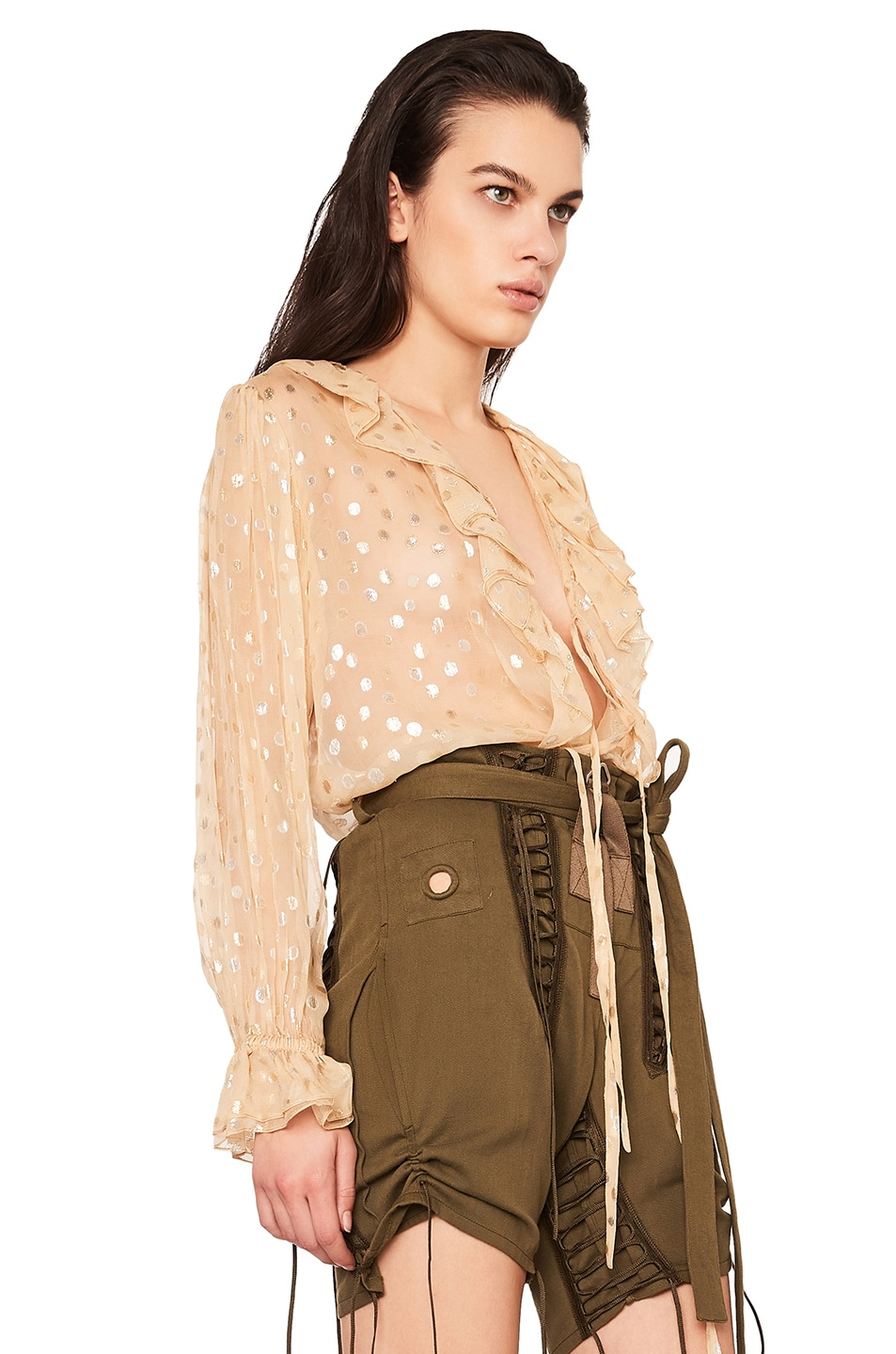 Image 2 of Saint Laurent Polka Dot Georgette Ruffle Front Blouse in Beige & Gold