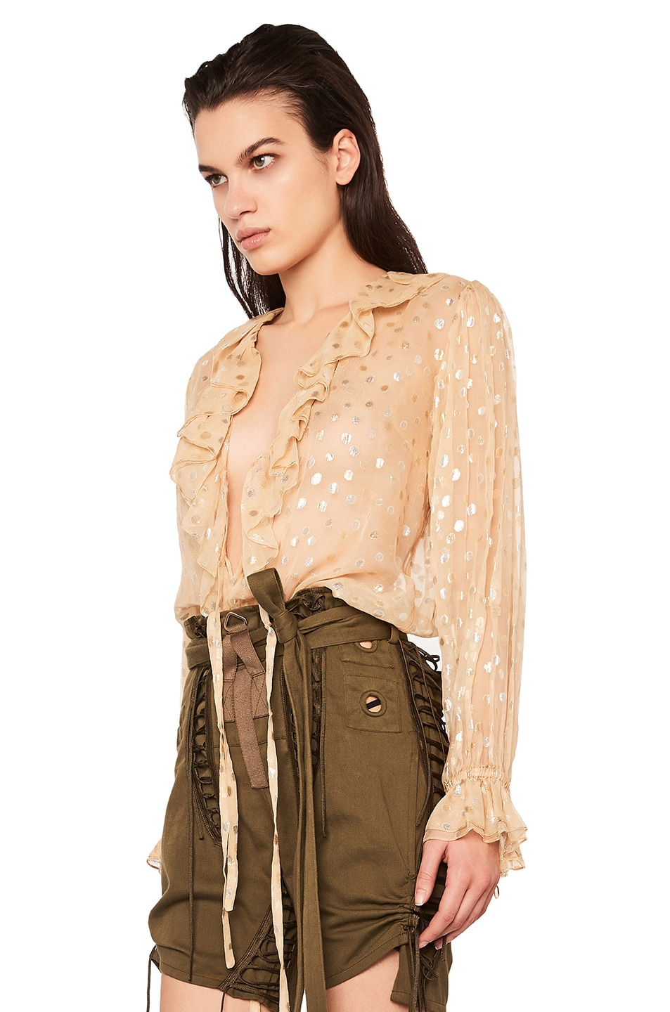 Image 3 of Saint Laurent Polka Dot Georgette Ruffle Front Blouse in Beige & Gold