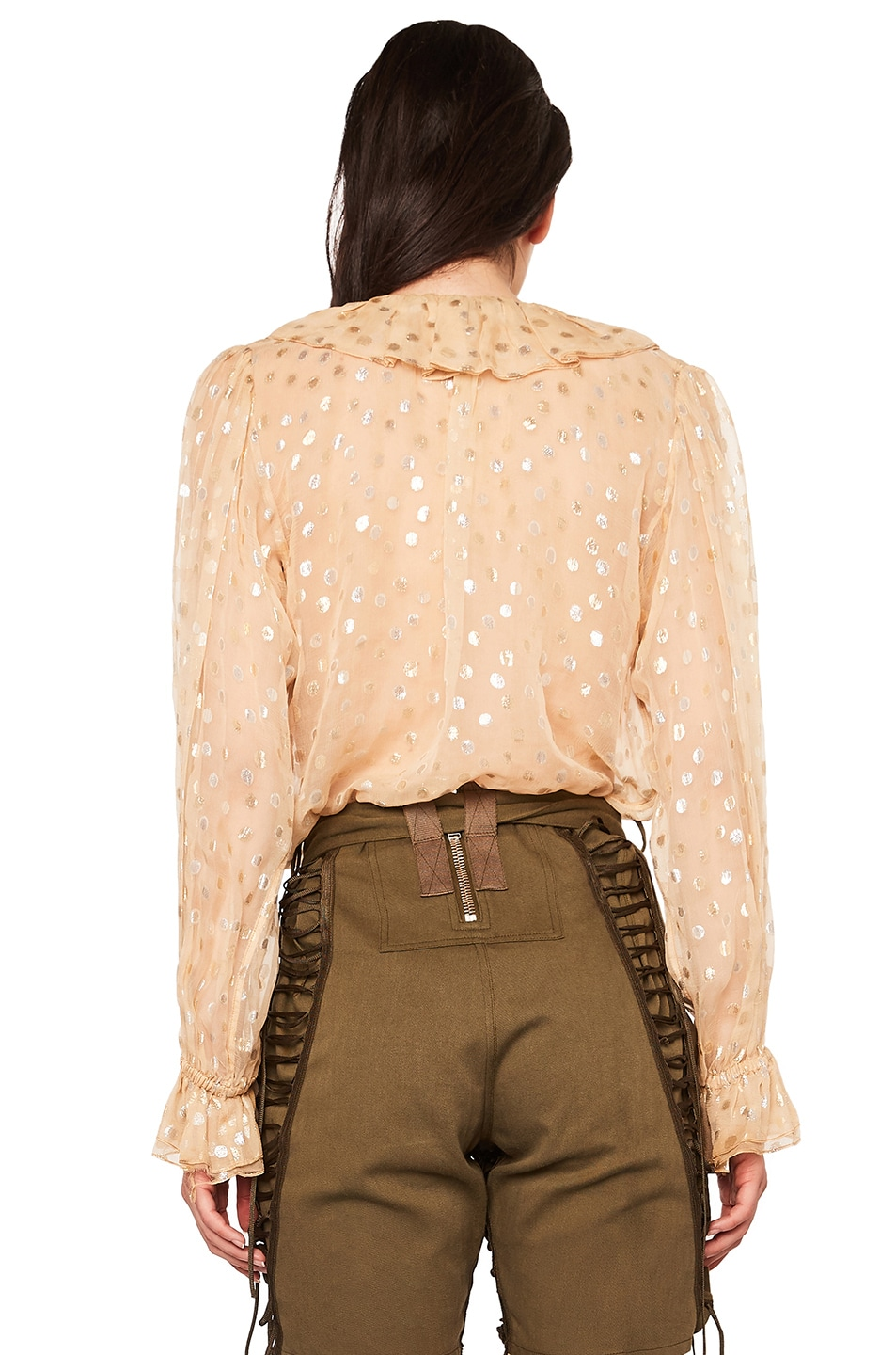 Image 4 of Saint Laurent Polka Dot Georgette Ruffle Front Blouse in Beige & Gold