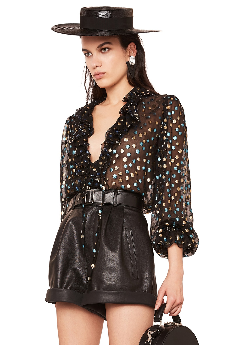 Image 3 of Saint Laurent Ruffle Trim Blouse in Black, Turquoise & Gold