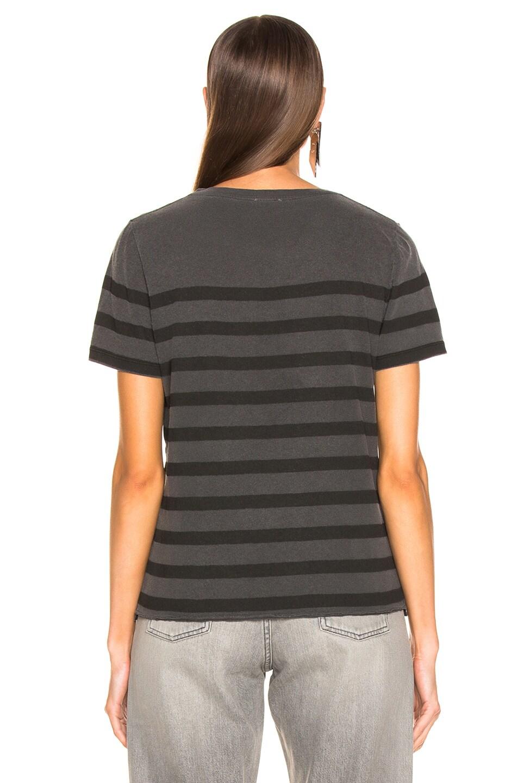 Image 3 of Saint Laurent Striped Tee in Grey & Dark Grey