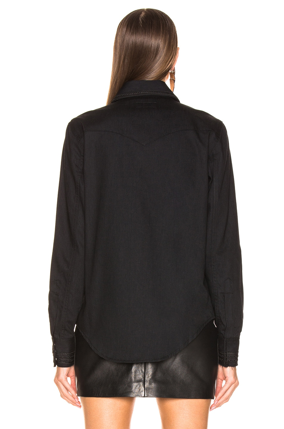 Image 3 of Saint Laurent Russian Embroidery Denim Shirt in Black Rinse