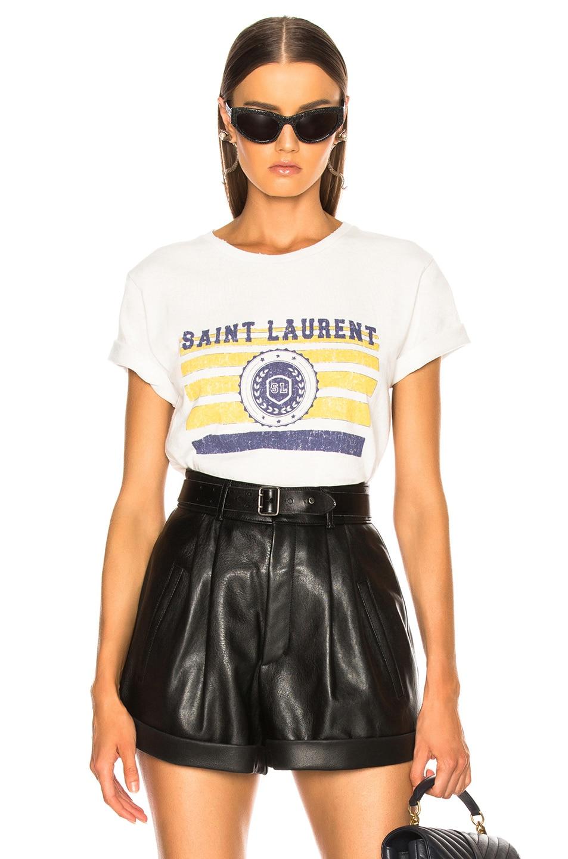 Image 1 of Saint Laurent Logo League Tee in Dirty Ecru, Yellow & Blue