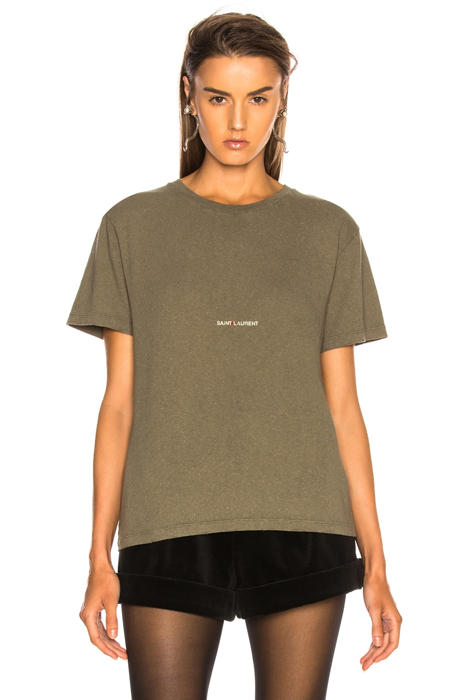 Image 2 of Saint Laurent Small Logo Tee in Army Grey & Beige