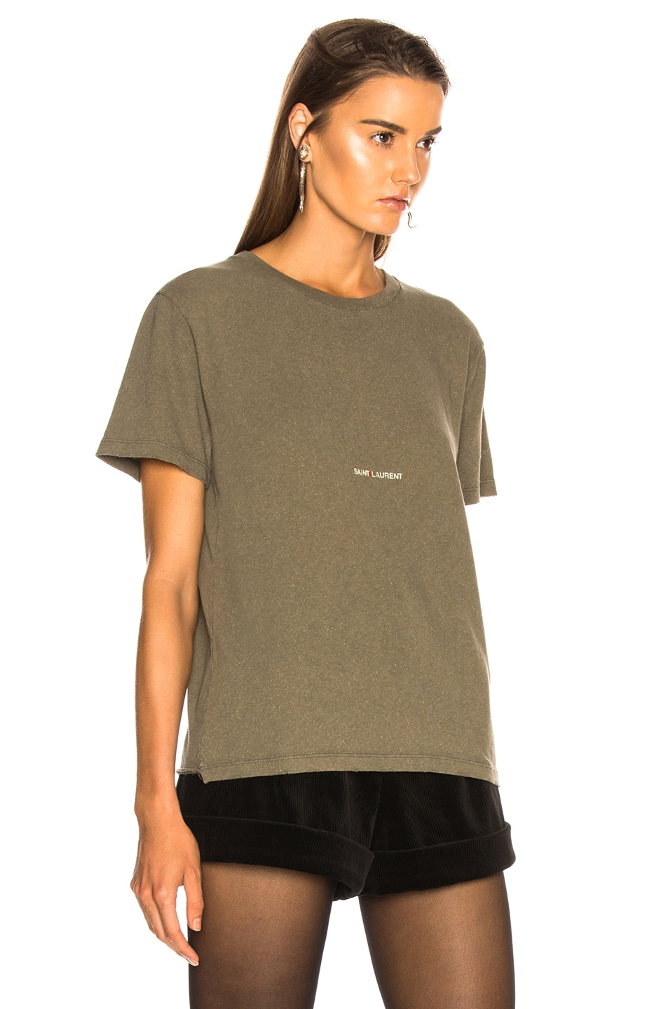Image 3 of Saint Laurent Small Logo Tee in Army Grey & Beige