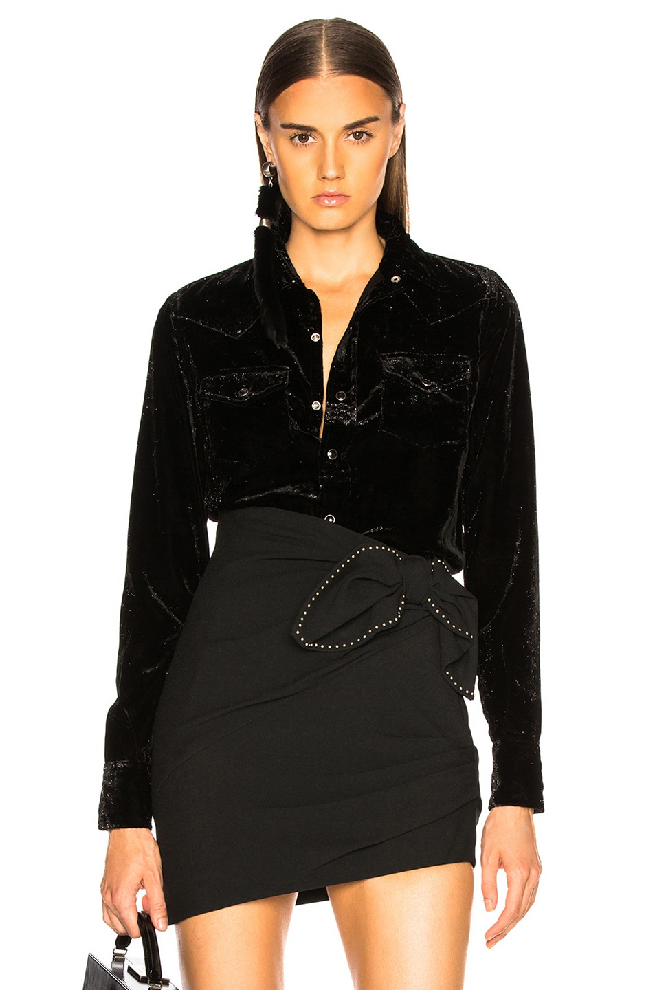 Image 1 of Saint Laurent Velvet Western Shirt in Black