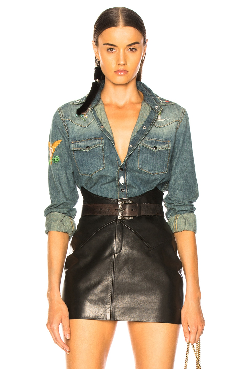Image 1 of Saint Laurent Embroidered Western Denim Shirt in Rusty Blue