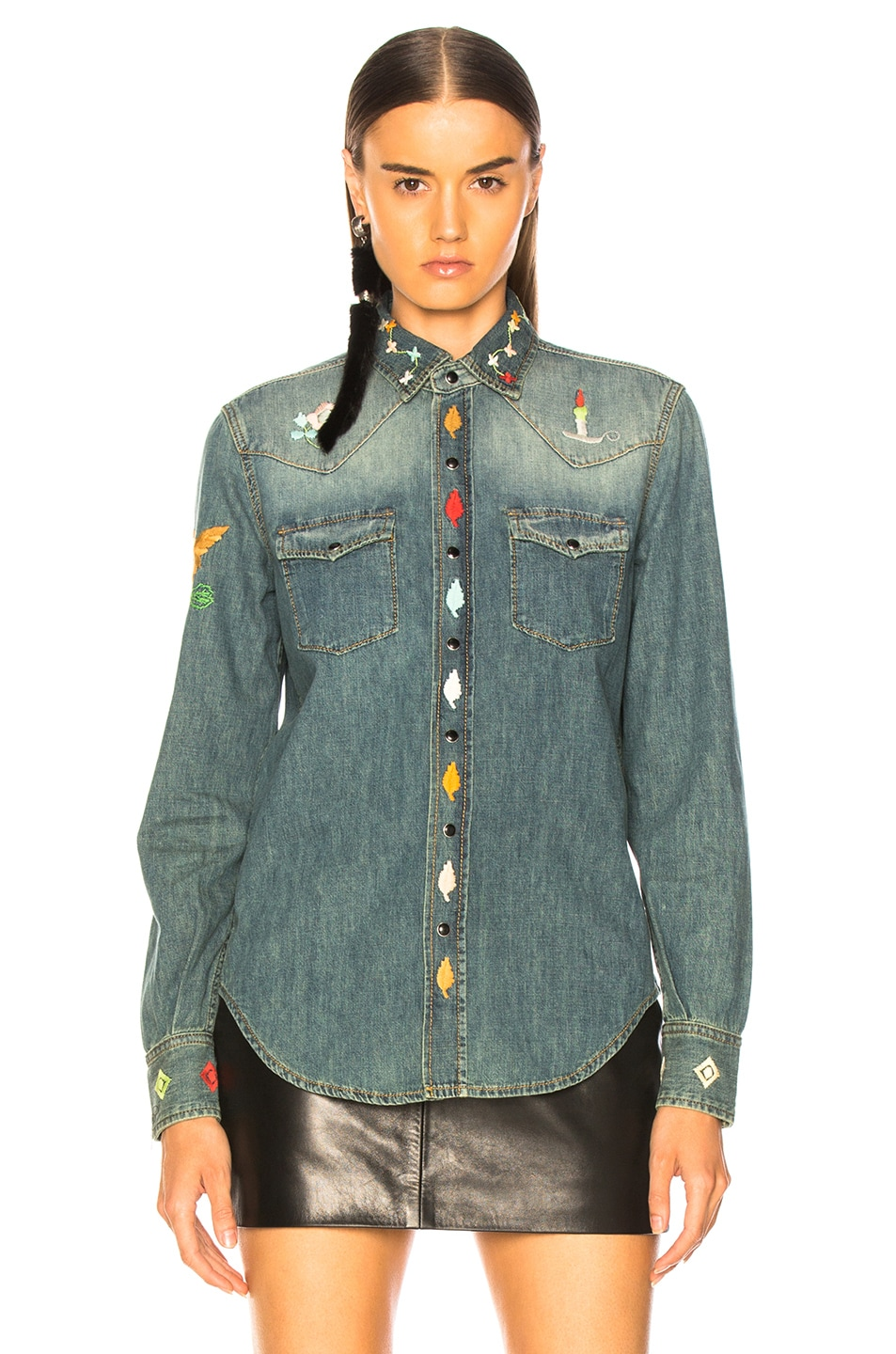 Image 2 of Saint Laurent Embroidered Western Denim Shirt in Rusty Blue