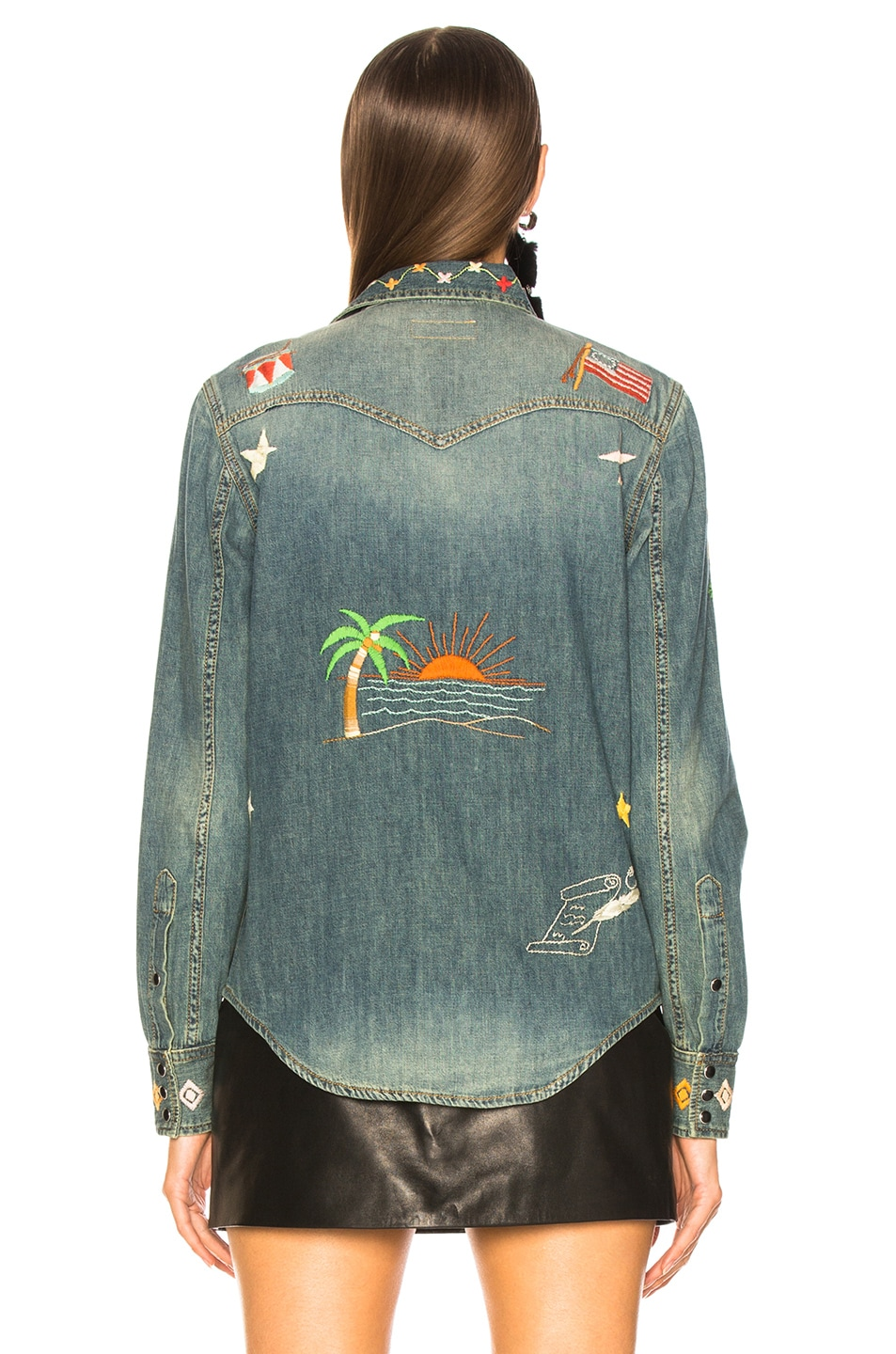 Image 4 of Saint Laurent Embroidered Western Denim Shirt in Rusty Blue