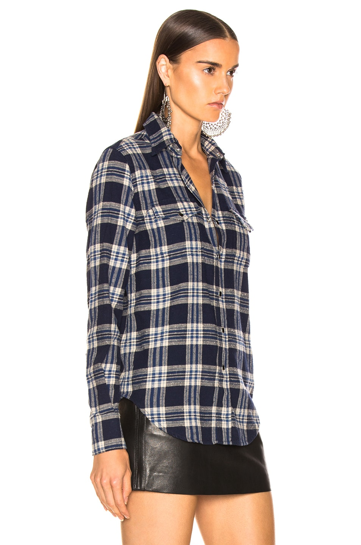 Image 2 of Saint Laurent Classic Western Shirt in Blue Checks