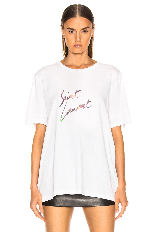 Image 2 of Saint Laurent Logo Shirt in Natural Multicolor