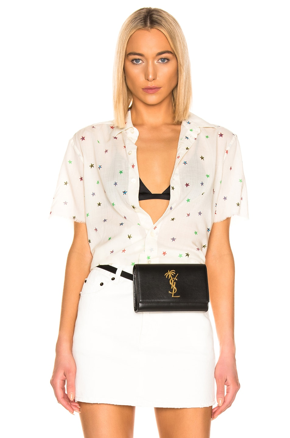 Image 1 of Saint Laurent Short Sleeve Top in White Multicolor