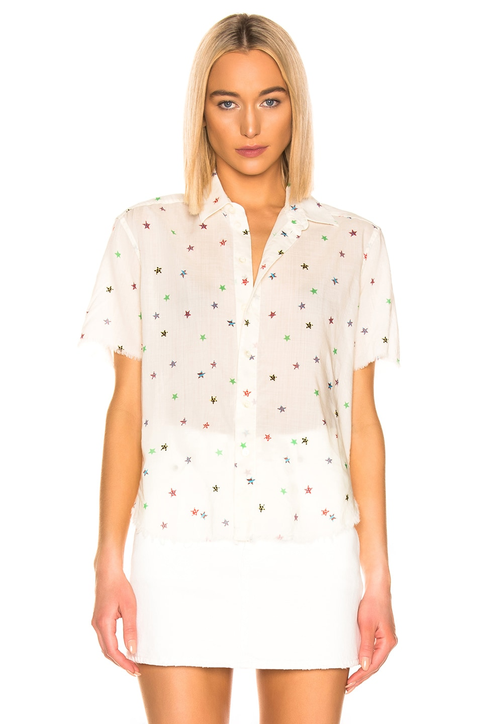 Image 2 of Saint Laurent Short Sleeve Top in White Multicolor