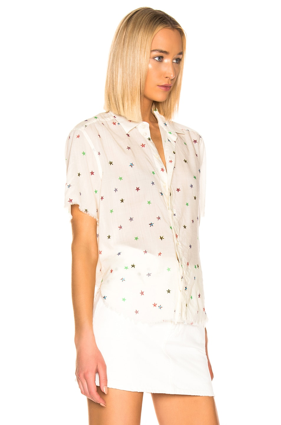 Image 3 of Saint Laurent Short Sleeve Top in White Multicolor